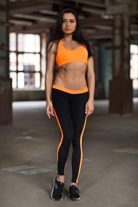 f723b3881b Yoga Set Clothes leggings women TOP LEGGINGS Basic Orange Low Rise Leggings  Activewear Tops Fitness
