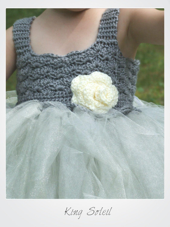 Flower Girl Tutu Dress Crochet Bodice Silver Grey Twilight Shiny ...
