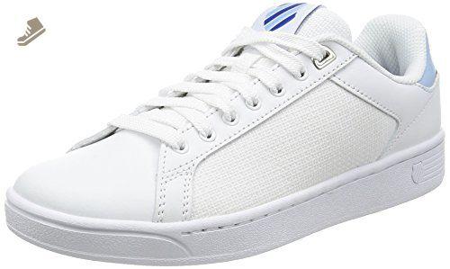 K-Swiss Women's Clean Court Cmf Fashion Sneaker, White/Dream Blue/Limoges