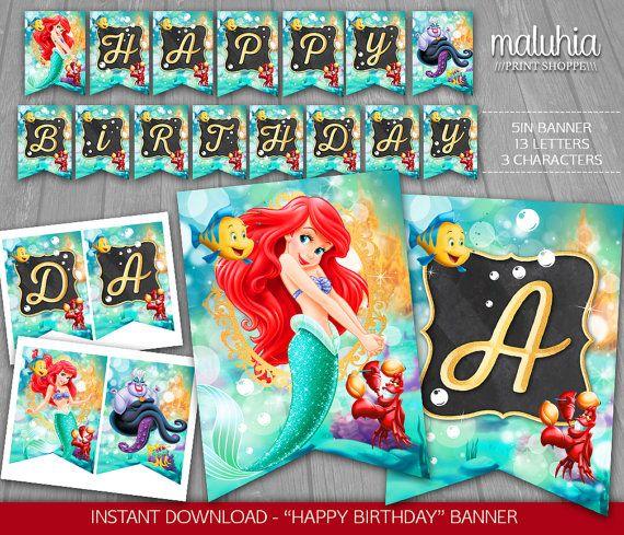 Little Mermaid Birthday Banner