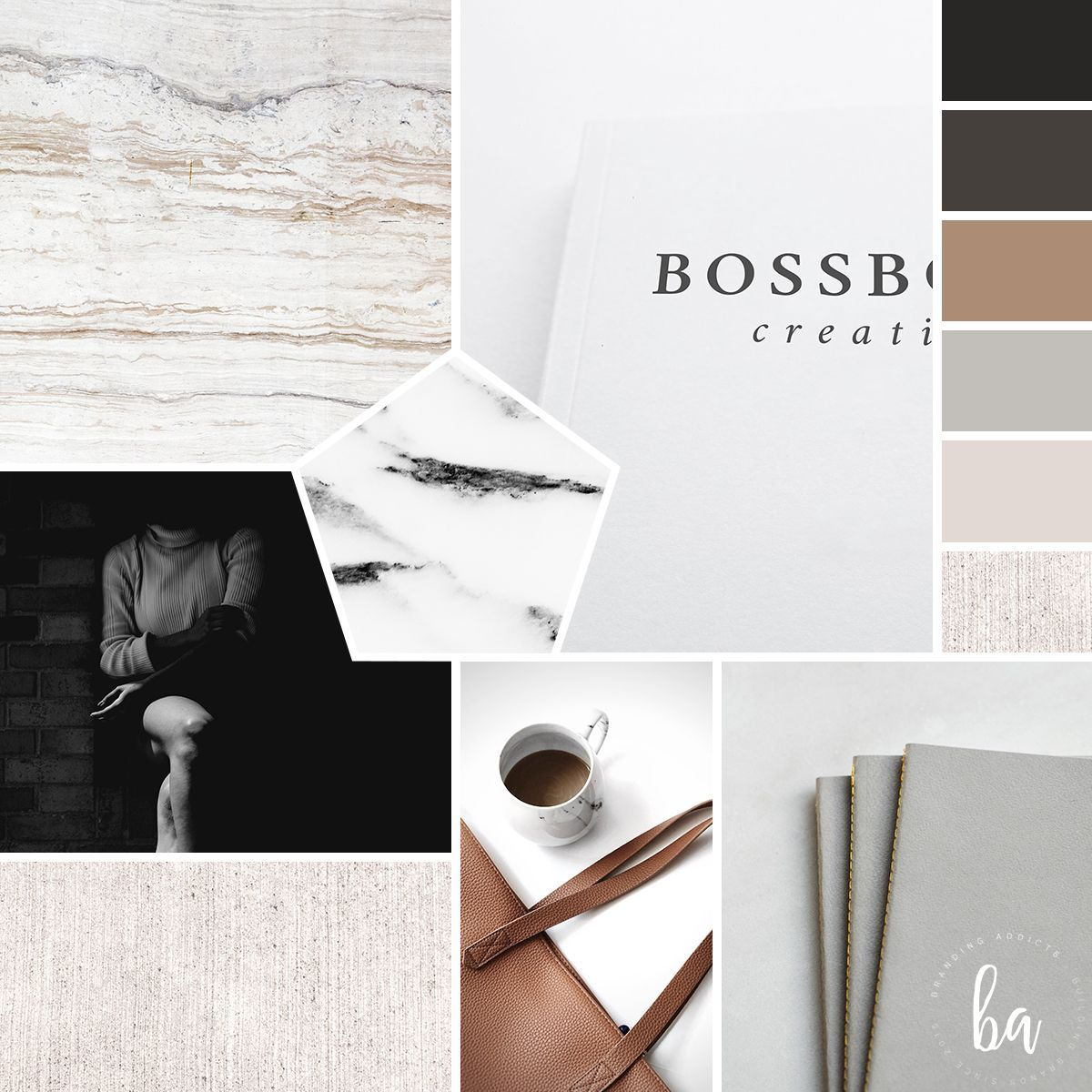 Modern, Cozy, Chic, Fashion, Minimal, Classic mood board created for Boss Book C...