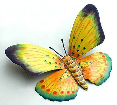 Hand Painted Yellow & Turquoise Butterfly - Tropical Metal Art ...