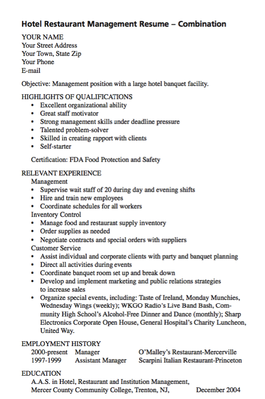 Example Of Hotel Restaurant Management  HttpExampleresumecv