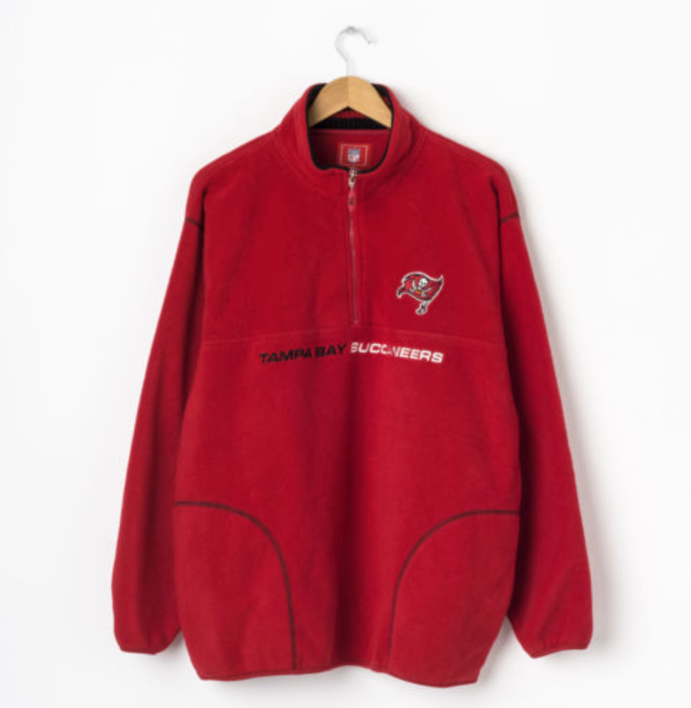Tampa bay buccaneers half zip fleece jacket in red size l large