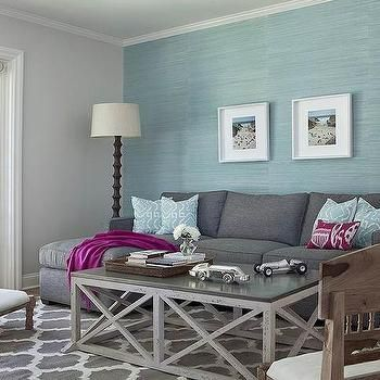 Aqua Blue And Charcoal Gray Living Room Design Blue Living Room