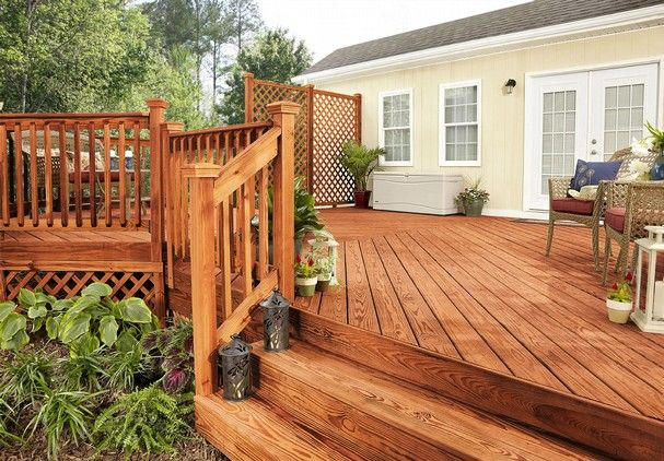 Deck Stain Color Ideas Wood Deck Treated With Olympic