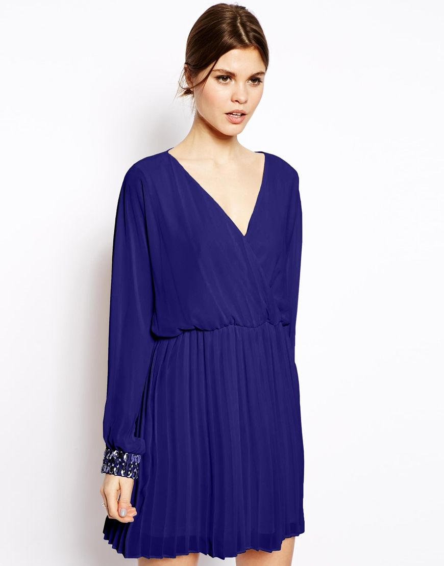 Image 1 of ASOS Embellished Cuff Dress with Pleated Skirt | XX ...