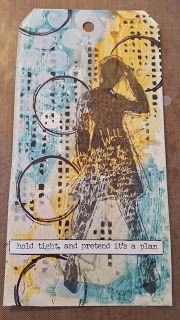 Tag using Distress Paint, some stencils and Dina Wakley's Silhouetted Women stamp set.