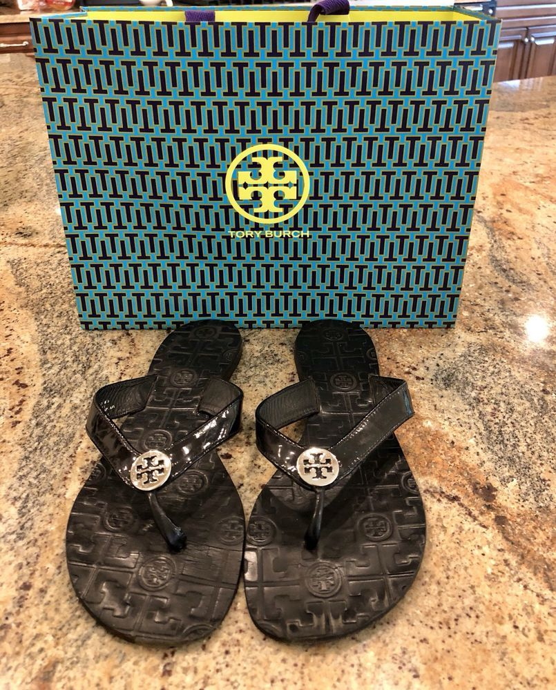 30aa27879a073 Flip Flops · Jello · Tory Burch Thora Black Jelly Patent Thong Sandals 10   fashion  clothing  shoes