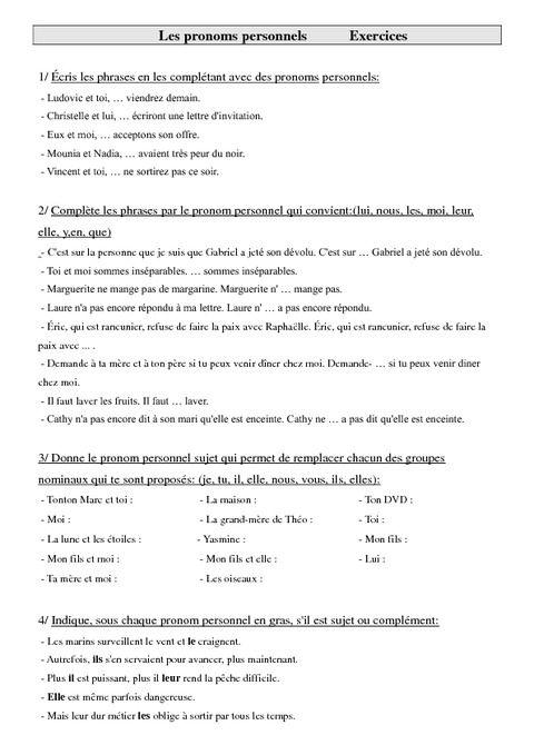 Pronoms Personnels Cm1 Exercices Grammaire Cycle 3 Exercice Grammaire Pronom Personnel Exercice Grammaire Ce1