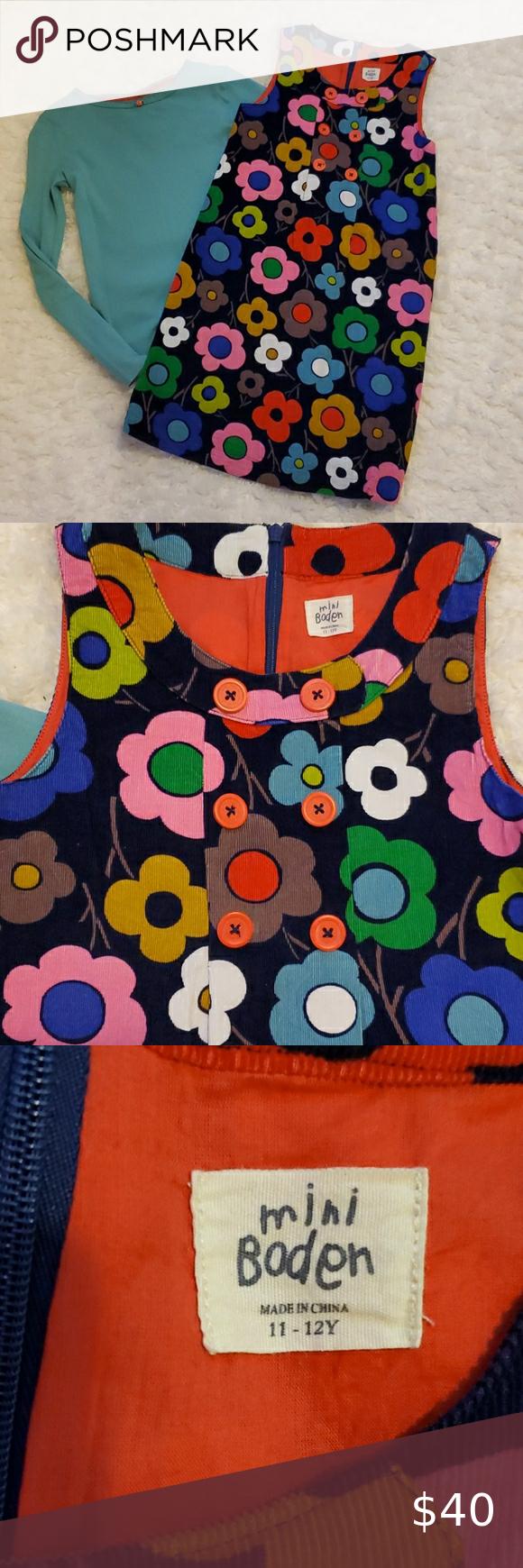 NWOT Mini Boden Girls Corduroy  Dark Blue Dress Size 12-18 Months