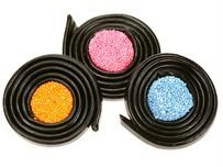 Liquorice Catherine Wheels-Long laces of tasty liquorice wrapped around an aniseed jelly sweet.