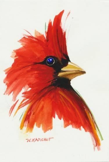 Saatchi Art Artist Wes Karchut Painting Red Cardinal Art