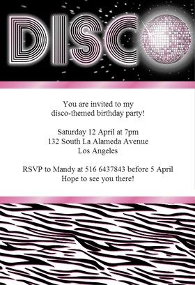 Zebra Stripes Disco Printable Invitation Template Customize Add - Disco birthday invitation templates free