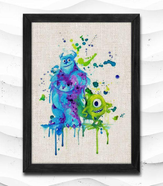 Monsters University Watercolor Print Disney Poster Art Print Baby Room Illustrations Mike Sulley Nursery Kids Room Gift Linen Poster CAP118