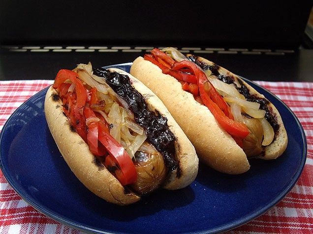 Chicken-Apple Hot Dogs with Blueberry Ketchup