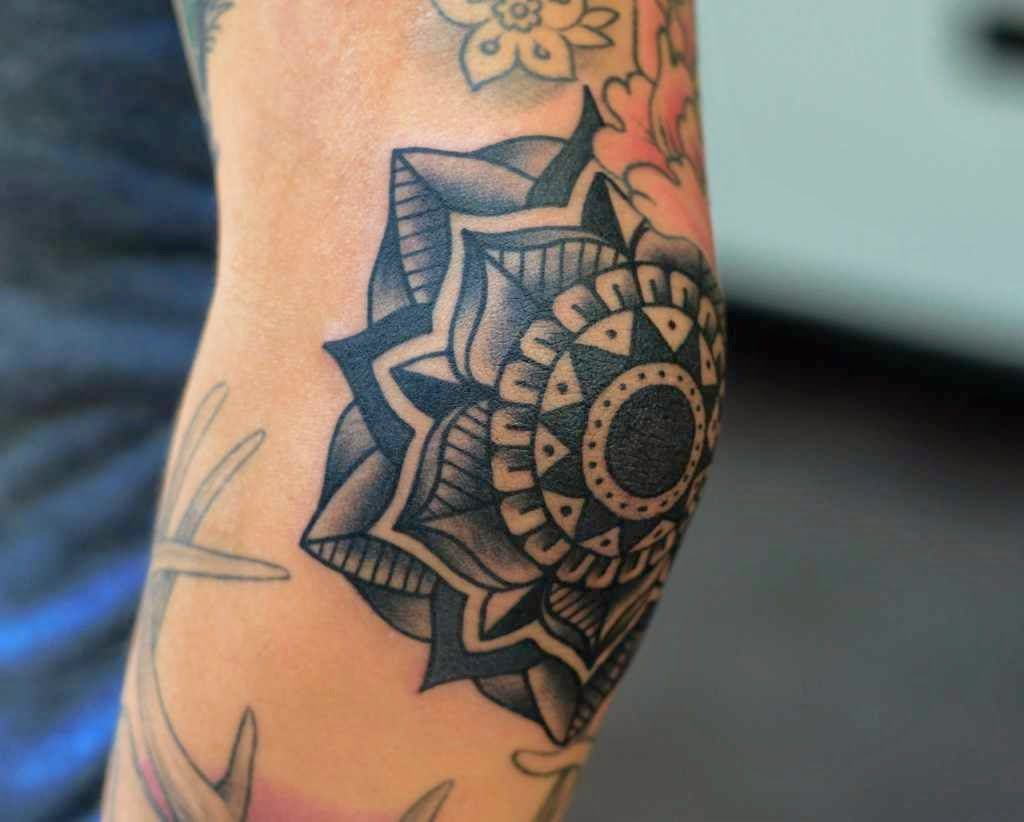 Mandala Tattoo On Elbow Elbow Tattoos Tattoos For Guys Knee Tattoo