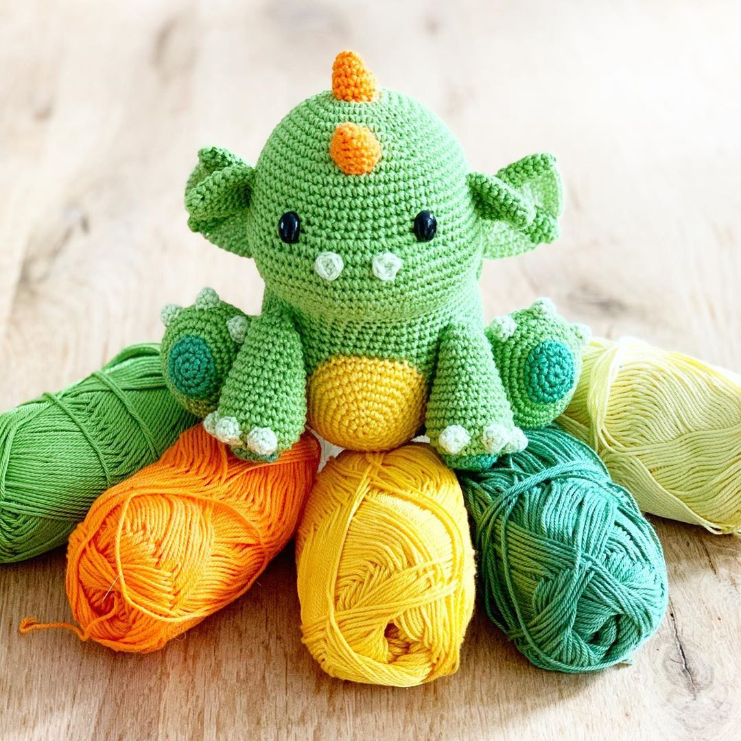 Vincent the Dragon | Free Crochet Pattern Amigurumi | Hooked by Kati | 1080x1080