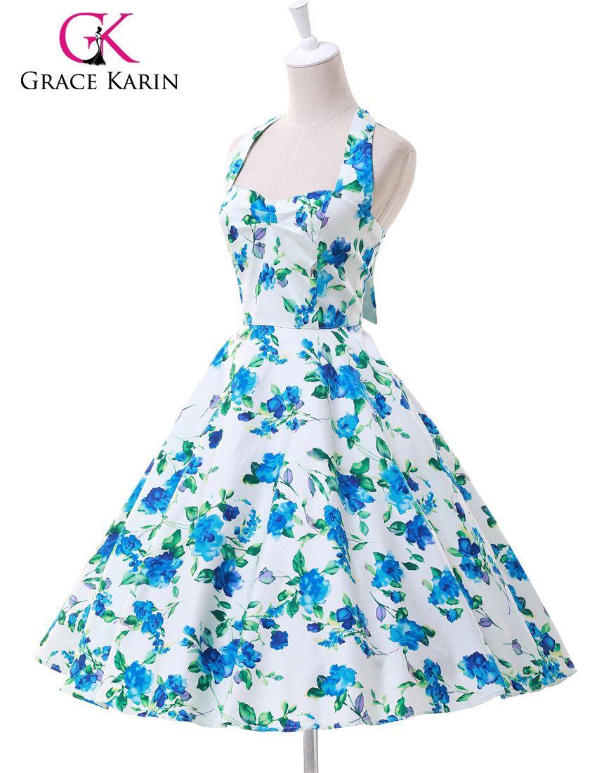 Barato Vestido Vintage, flower / floral imprimir curto vestidos de ...