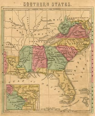 Vintage Map Of Southern States I So Have A Place For Something - Map southern states us