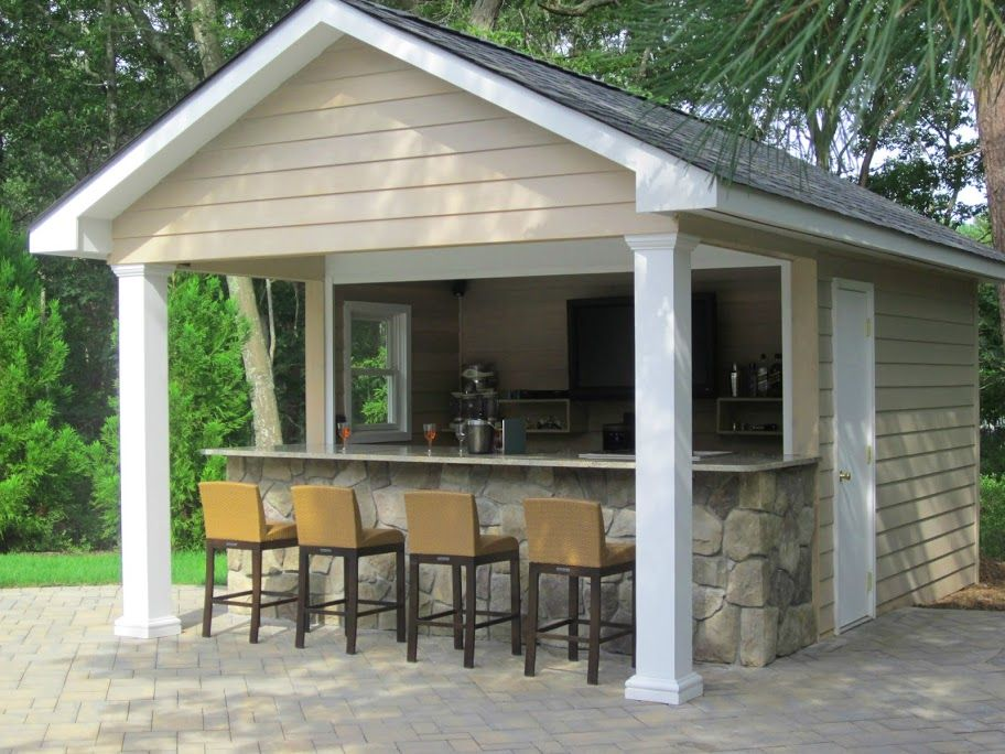 10x16 pool house cabana plans with bar and sun deck | 10x16 Shed ...