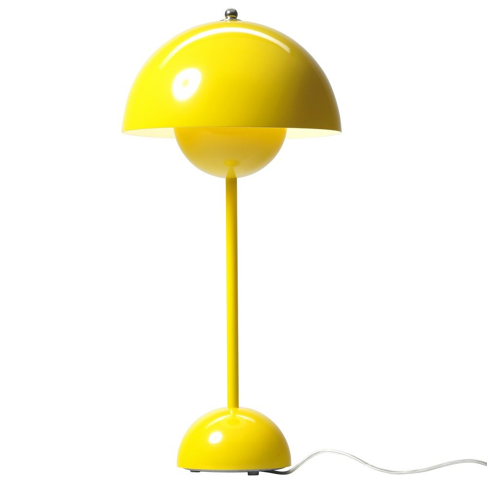 Flowerpot Lampe De Table Jaune Lampe A Poser Tradition Designe Par Verner Panton Lightonline Table Jaune Lampes De Table Lampe
