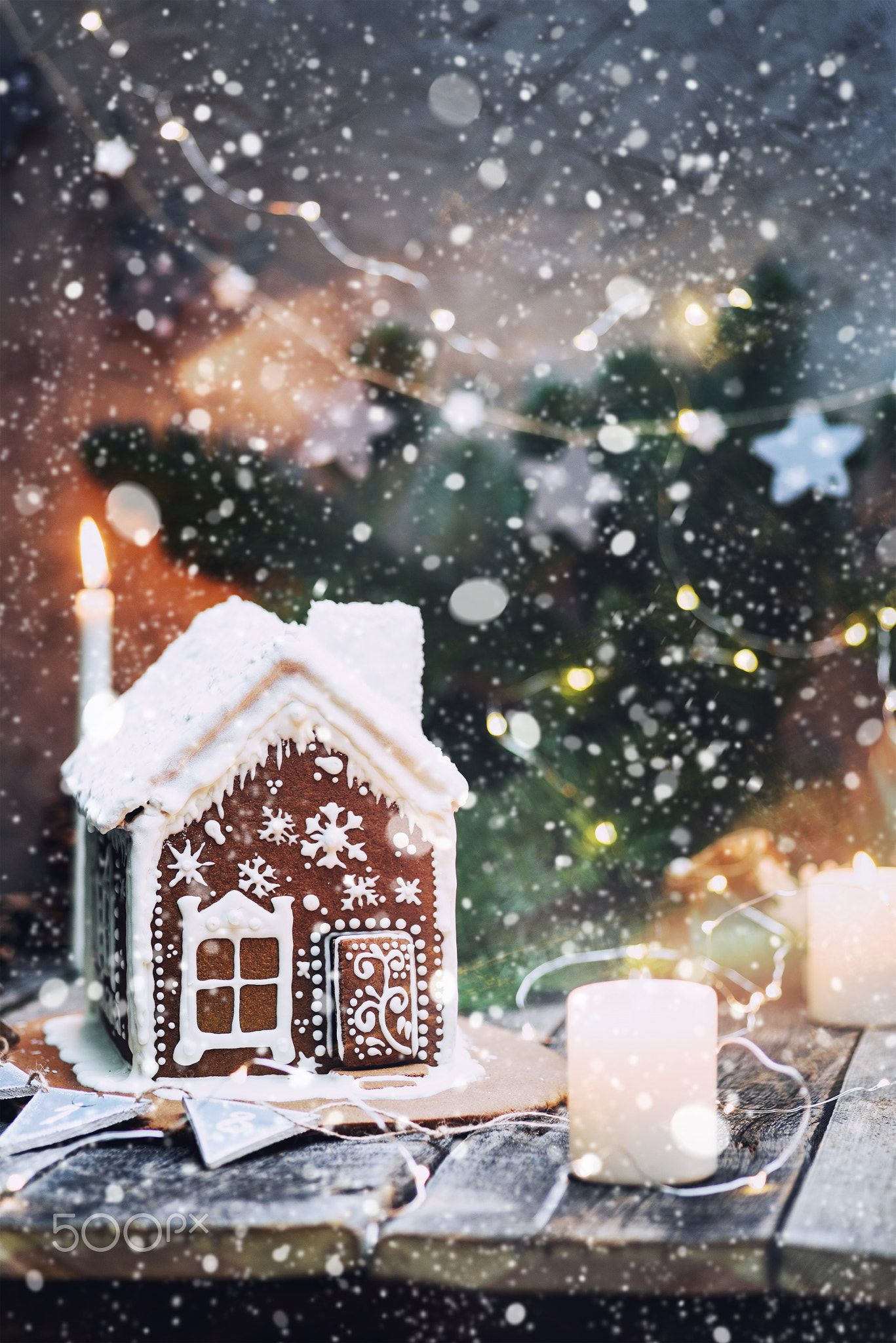 Homemade Gingerbread House With Candles Christmas Lights And