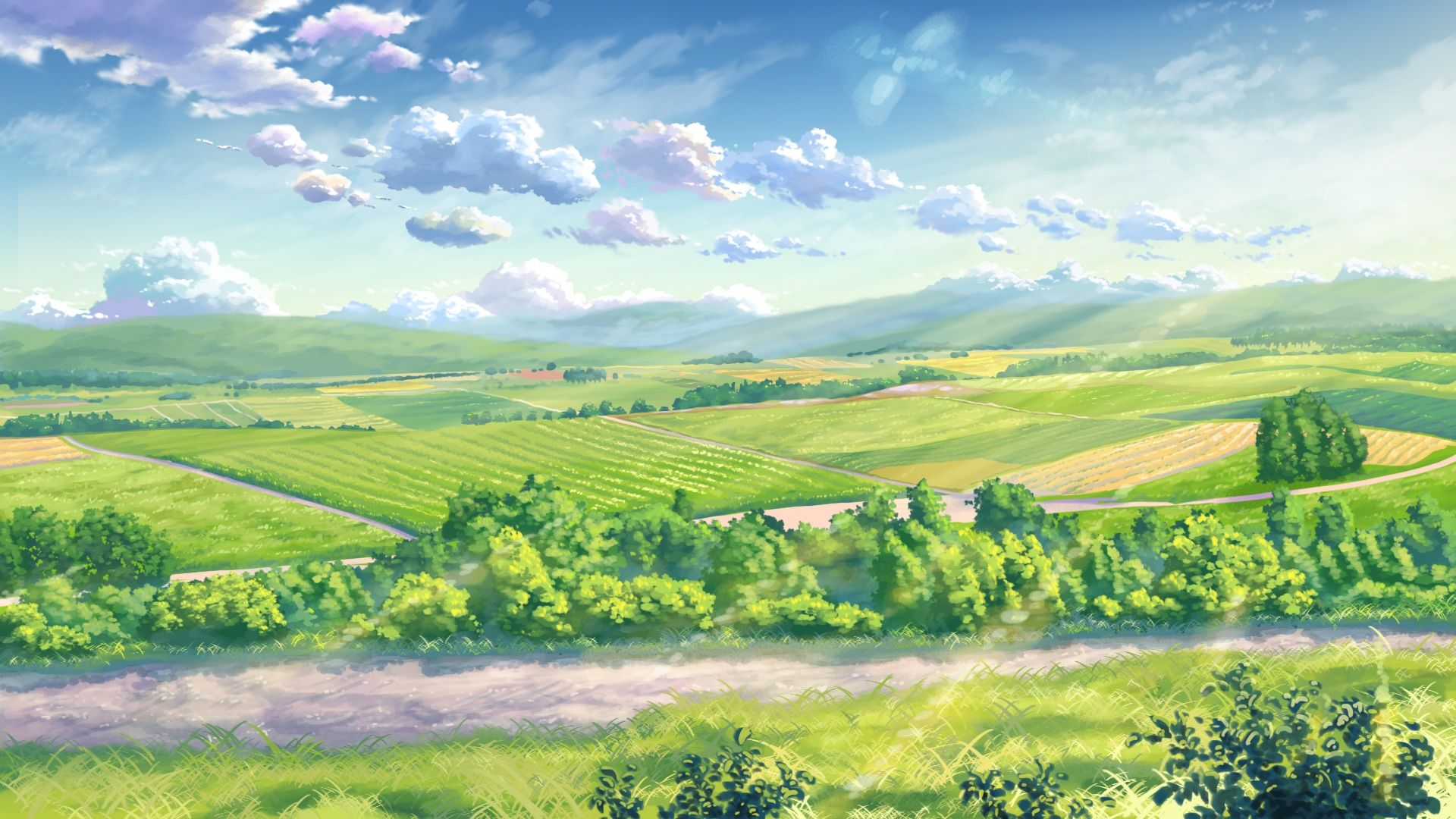 Green Anime Landscape Wallpaper