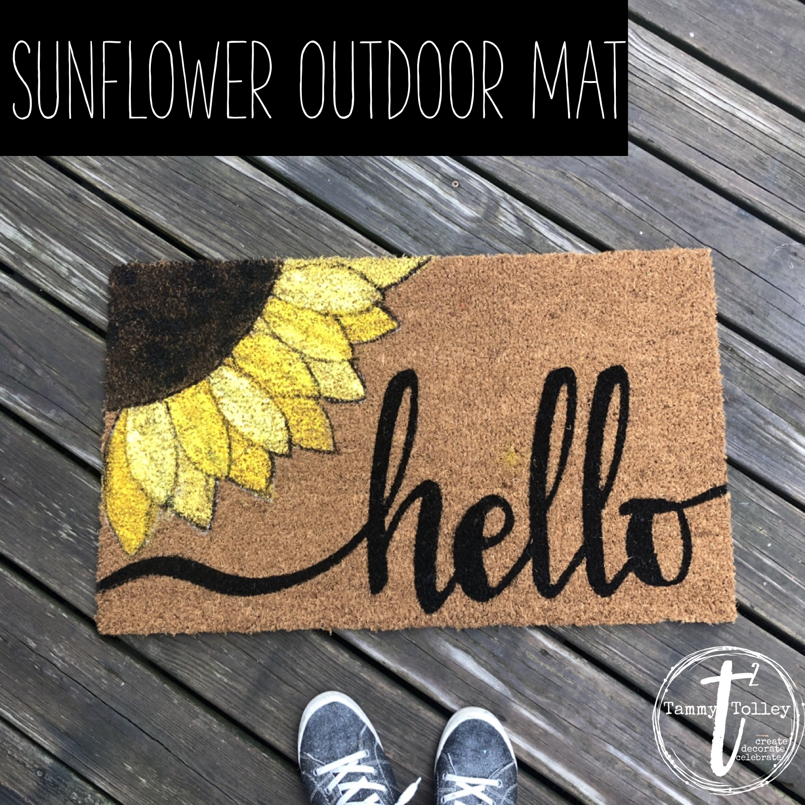 Sunflower Door Mat Sunflower Welcome Mat Door Mat Diy Cute Door