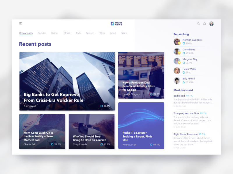 News Feed Design For A Young Journalist Platform Designed By Kostia Varhatiuk Connect With Them On Dribbble The Glo In 2020 News Web Design Web Design Web App Design