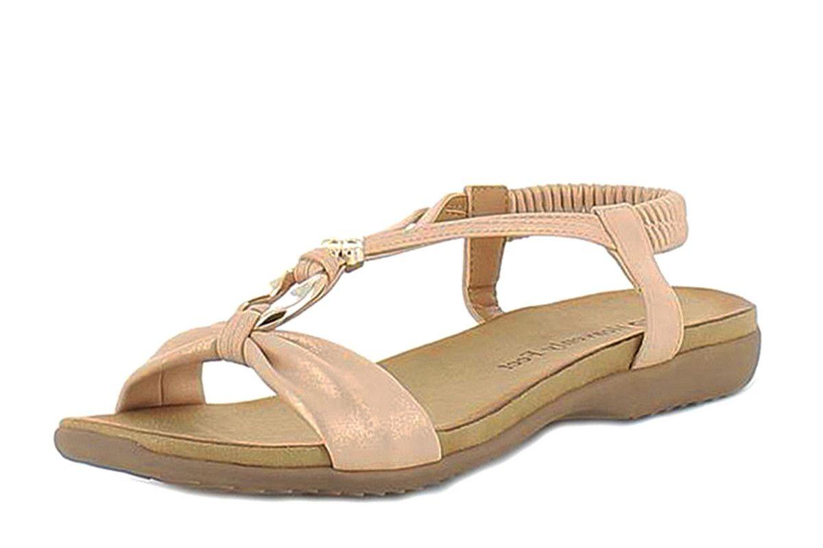 aea9645508f1f Heavenly Feet Catalina Rose Gold T Strap Comfort Sandals | Heavenly ...