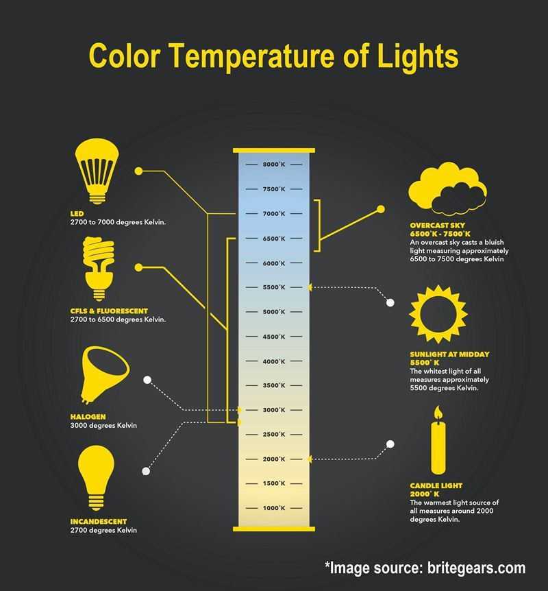 Color Temperature Chart Of Lights Different Light Bulbs Led Light Store Cove Lighting