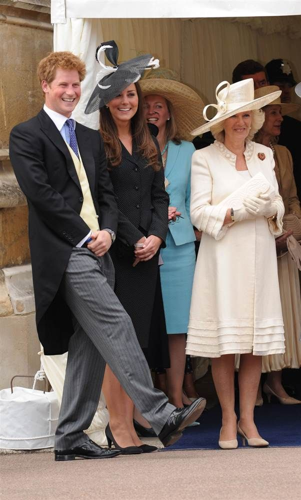 A good laugh Prince Harry, Kate Middleton and Camilla, Duchess of Cornwall laugh together as they watch the Order of the Garter procession at Windsor Castle on June 16, 2008, in Windsor, England.