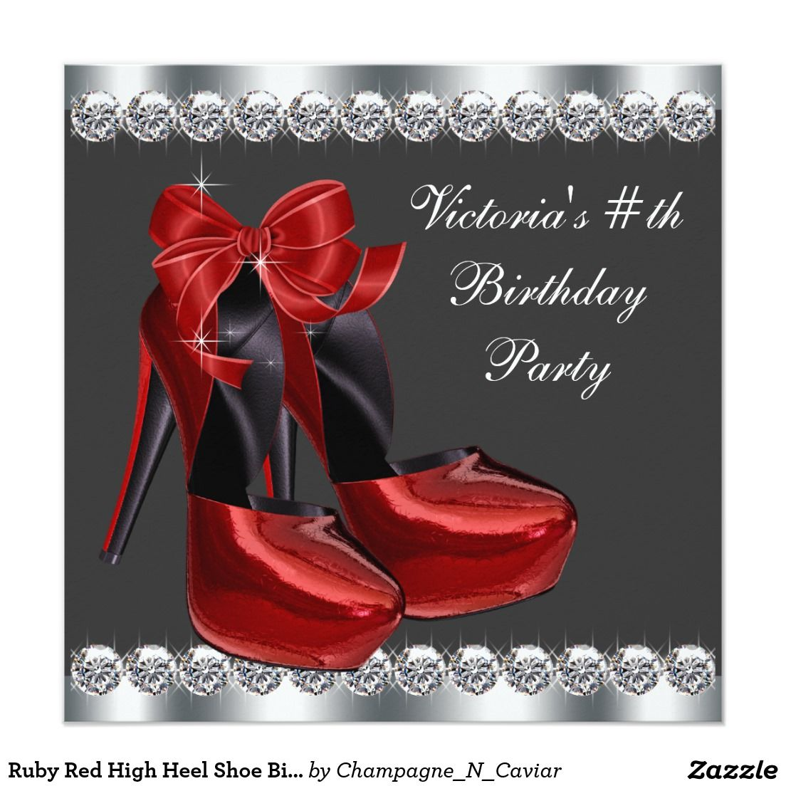 Ruby Red High Heel Shoe Birthday Party 5.25x5.25 Square Paper ...