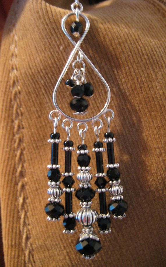 Opaque Black Crystal and Tibetan Silver by JadedJewelsUK on Etsy, £9.00