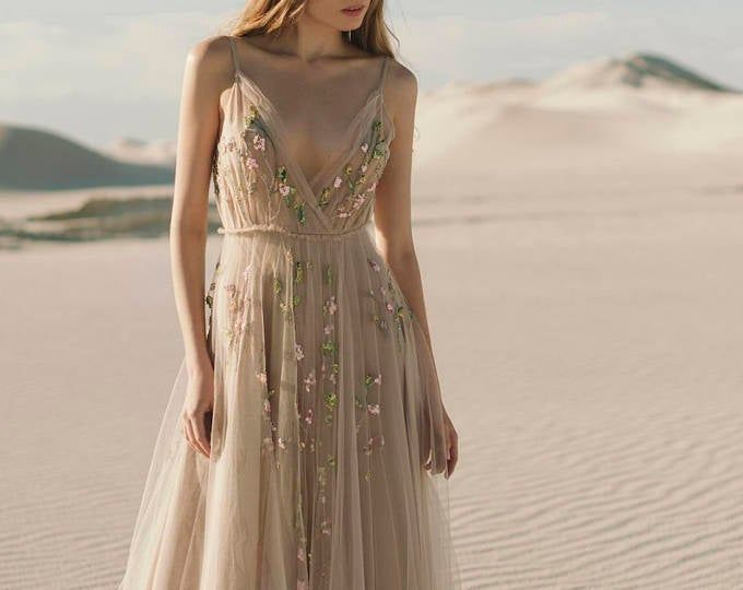 Boho Wedding Dress / Pale Blush Purple Bridal Gown