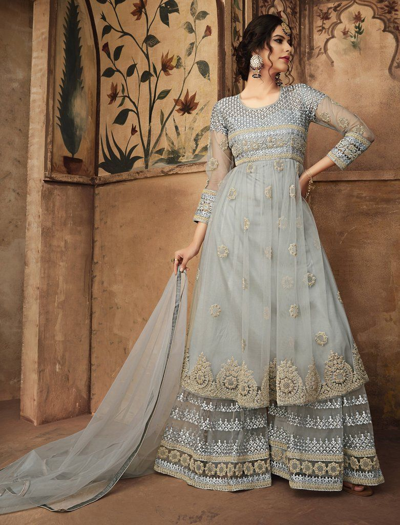 Indian Bollywood Ethnic Wear Soft Net Fabric Embroidered Palazzo Salwar Suit