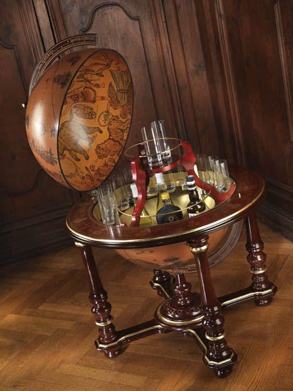 Extra Large Floor Globe Bar Genuine Antique Replica Italian 24