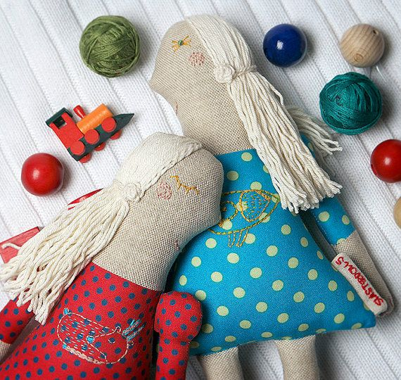 Luna. Luna doll, doll with an owl, hand-embroidered doll, Dolls, polka dots, cloth doll, natural doll