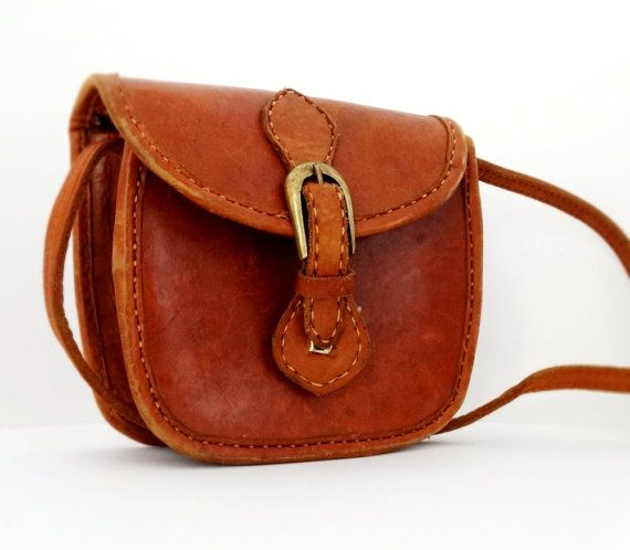 Vintage Genuine Leather Purse Bag Linen Pouch by AlexVintageArea