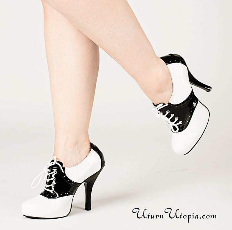 Black And White Heeled Saddle Shoes