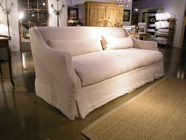 Slipcovers For Sofas Love the wrinkled slipcover over stuffed bench cushion and style of this Taylor