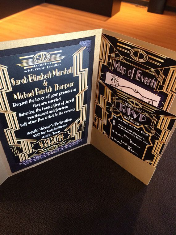 great gatsby wedding invitation and rsvp set weddinginvitations greatgatsby gatsbywedding goldwedding - Great Gatsby Wedding Invitations