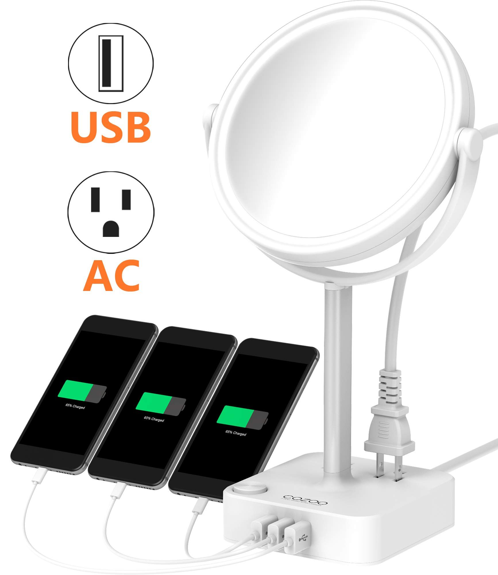 Cozoo Lighted Makeup Mirror With Led Light And 3 Ports Usb Charger