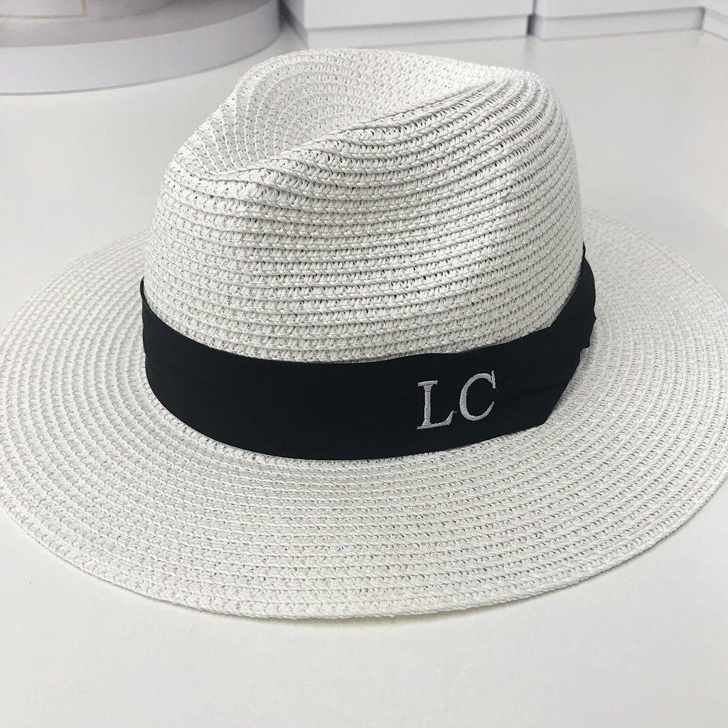 3d2131b1c18e4c Personalised Straw Fedora Hat - White in 2019   Fedoras   Straw ...