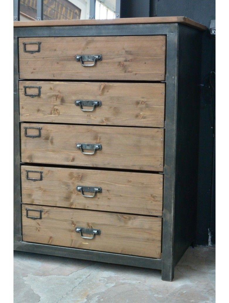 meuble industriel de 10 tiroirs bois