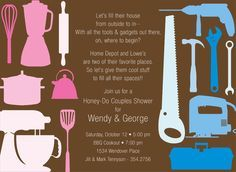 Honey Do Couples Shower Chocolate Invitations by Noteworthy Collections - Invitation Box