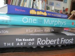 "Mary Lee Hahn offers up one adult, one professional, and two kids' choices as a sampling from her tall ""to read"" pile:     The Art of Robert Frost by Tim Kendall,   What Readers Really Do by Dorothy Barnhouse and Vicki Vinton,   One for the Murphys by Lynda Mullaly Hunt, and   Ellie McDoodle: Most Valuable Player by Ruth McNally Barshaw."