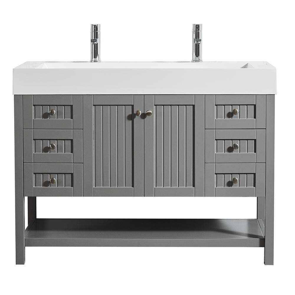 Roswell Pavia 48 In W X 20 In D Vanity In Grey With Acrylic Vanity Top In White With White Basin 755048 Gr Wh Nm In 2020 Single Bathroom Vanity Vanity Single Sink Bathroom Vanity