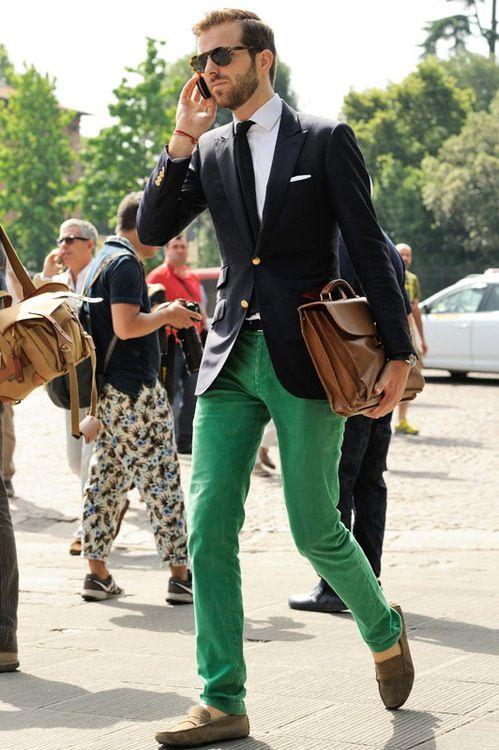 Men's style: Navy jacket and green pants | Menswear, Mens